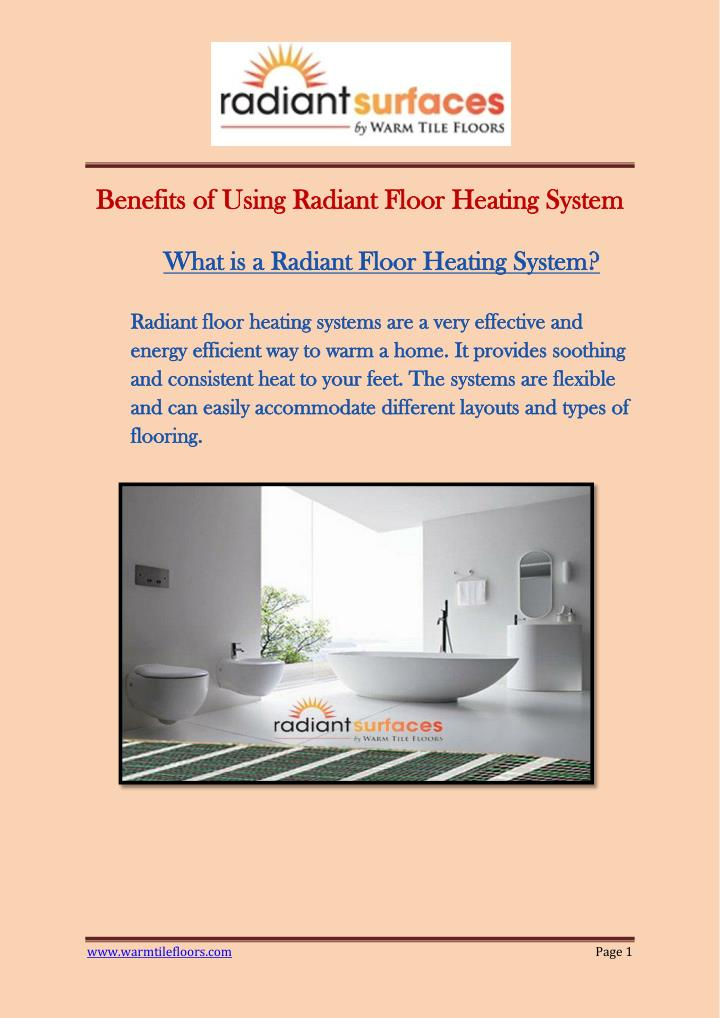 PPT - Benefits of Using Radiant Floor Heating System PowerPoint ...