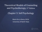 Theoretical Models of Counseling and Psychotherapy, 3 rd Edition Chapter 3: Self Psychology