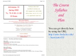 The Course Syllabus and Plan