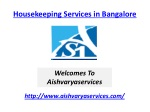 Housekeeping Services in Bangalore