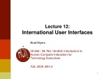 Lecture 12: International User Interfaces