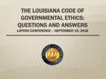 THE code of governmental ETHICS: