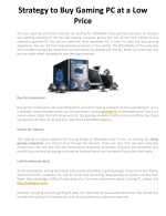 Strategy to Buy Gaming PC at a Low Price
