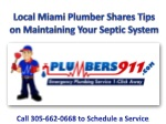 Expert Plumber in Miami Shares Tips on Maintaining Your Sept