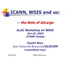 ICANN, WSIS and us: -- the Role of AtLarge ALAC Workshop on WSIS Oct 29, 2003 ICANN Tunisia
