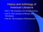 History and Anthology of American Literature