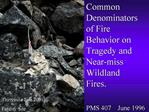 Common Denominators of Fire Behavior on Tragedy and Near-miss Wildland Fires.