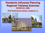Pandemic Influenza Planning Regional Tabletop Exercise XXXXX XX, 2006 XYZ Conference Center, Anytown, IL