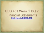 BUS 401 Week 1 DQ 2 Financial Statements