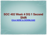 SOC 402 Week 4 DQ 1 Second Shift