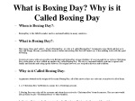 What is Boxing Day? Why is it Called Boxing Day?