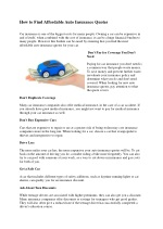 How to Find Affordable Auto Insurance Quotes