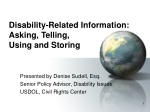 Disability-Related Information: Asking, Telling, Using and Storing