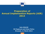 Preparation of Annual Implemention Reports (AIR) 2013