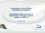 Presentation to the Portfolio Committee on Transport