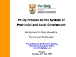 Policy Process on the System of Provincial and Local Government