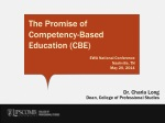 The Promise of  Competency-Based Education (CBE) EWA National Conference Nashville, TN