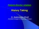 Patient-Doctor relation History Taking