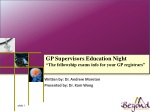 """GP Supervisors Education Night """"The fellowship exams info for your GP registrars"""""""