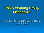 PM2.5 Working Group Meeting #2