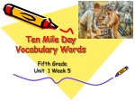Ten Mile Day Vocabulary Words