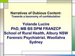 Narratives of Dubious Content: Towards a taxonomy of confabulation Yolande Lucire PhD, MB BS DPM FRANZCP School of Ru