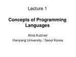 Lecture 1 Concepts of Programming Languages