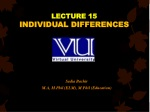 LECTURE 15 INDIVIDUAL DIFFERENCES