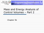 Mass and Energy Analysis of Control Volumes – Part 2