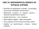 UNIT IV: MATHEMATICAL MODELS OF PHYSICAL SYSTEMS