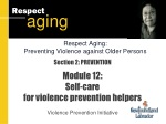 Section 2: PREVENTION Module 12: Self-care for violence prevention helpers