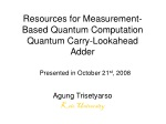 Resources for Measurement-Based Quantum Computation Quantum Carry-Lookahead Adder
