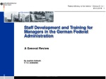 Staff Development and Training for Managers in the German Federal Administration