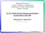 PA 519– Health Programs Planning and Evaluation Second Semester 1439/ 1440