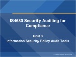 IS4680 Security Auditing for Compliance Unit 3 Information Security Policy Audit Tools