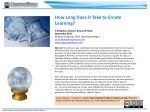 How Long Does it Take to Create Learning? A Chapman Alliance, Research Study September 2010