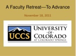 A Faculty Retreat—To Advance