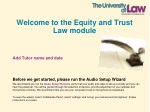 Welcome to the Equity and Trust Law module