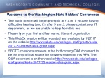 Welcome to the Washington State Bidders' Conference