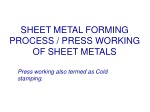 SHEET METAL FORMING PROCESS / PRESS WORKING OF SHEET METALS