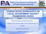 CONSULTATIVE WORKSHOPS ON LOCAL GOVERNMENT BUDGET FRAMEWORK PAPER