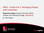 MOIC – Study Unit 2 Managing Change with Individuals