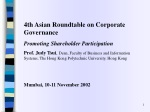 4th Asian Roundtable on Corporate Governance Promoting Shareholder Participation