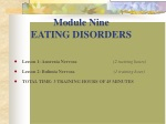 Module Nine EATING DISORDERS