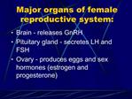 Major organs of female reproductive system: