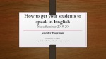 How to get your students to speak in English Masa Seminar 2019-20