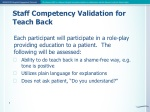Staff Competency Validation for Teach Back