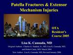 Injuries to the Patella and Extensor Mechanism