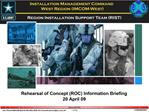 Rehearsal of Concept ROC Information Briefing 20 April 09