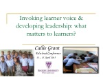 Invoking learner voice & developing leadership: what matters to learners?